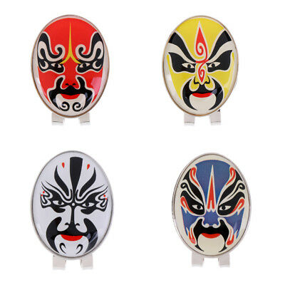 New Magnetic Hat Clip with Peking Opera Mask Golf Ball Marker - 4 Colors