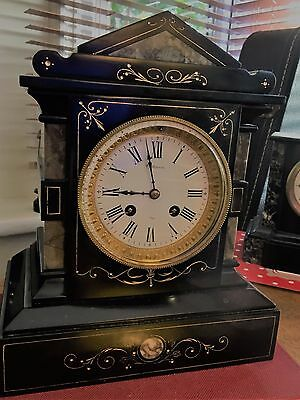 A Very Pretty French Black Slate And  Marble Chiming Clock Circa 1880