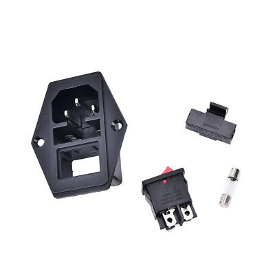 Hot 3Pin iec320 c14 inlet module plug fuse switch male power socket 10A 250V WC