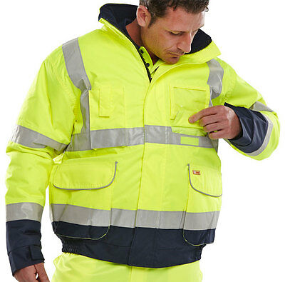 BSeen High Visibility Two Tone Yellow Navy Blue Waterproof Bomber Jacket Coat