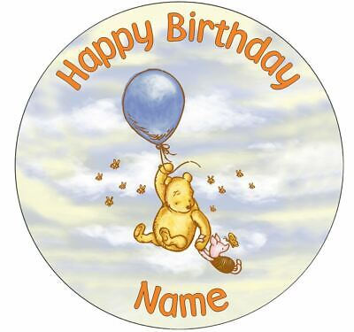 Classic Winnie the Pooh Personalised Edible Icing Cake Topper Square Round