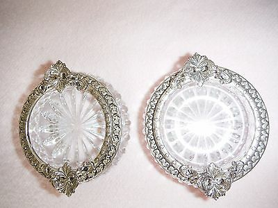 Vintage Crystal Glass & Silver Plate Matching  Pair Of Salts Perfect Condition