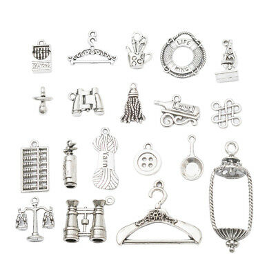 19x Retro Jewelry Making DIY Antique Silver Tools Charm Pendant fit Necklace