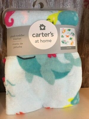 Carter's at Home Baby Toddler Infant Blanket Plush Mermaid Sea Boy Girl Blue NEW