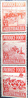 1953 Australian Pre Decimal Stamps: Food Production - Set of 3 Red MNH