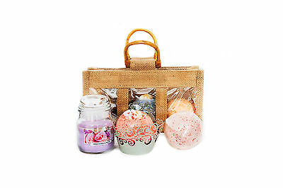 Lush Scent Bath Bombs & Candle In Bag Gift Set -  Birthday Easter Pamper Gift