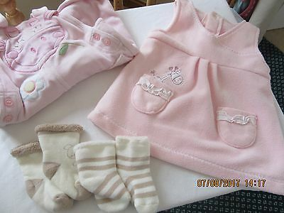 Baby Girls Pink Dungarees 1 month,Pink Dress +  2 Pr Socks suit Reborn Doll
