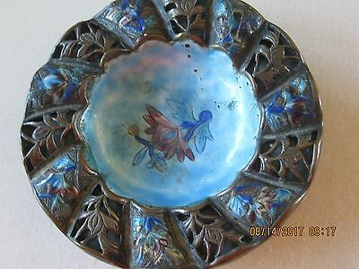 OLD  Cloisonne Ashtray Blue Enamel on Copper Chinese Floral Flower  Dish CUTE