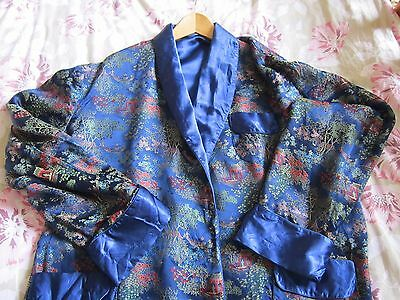 Vintage Large Heavy Chinese Silk Satin Brocade Dressing Gown Size 52 Royal Blue