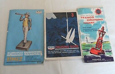 (1) Mobil - (1) Texaco Cruising Guides +  (1) 1962 America's Waterways Booklet