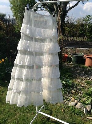 Vintage 1930's White Nylon Lacey Long Tiered Petticoat Skirt