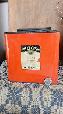 Rare Antique What Cheer Nutmeg Spice Tin  Can Providence Ri Vintage Large 5Lb