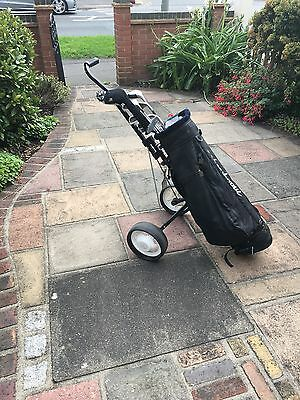 Golfing trolley, bag, clubs, balls and tees