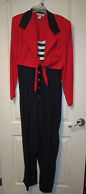 Vtg 1970s Womens BEAUTIFUL DRESSY Jumpsuit, RED, WHITE + NAVY BLUE, Size 9/10