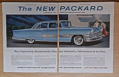 1953 two page magazine ad for Packard  - blue Patrician, engineering advancement