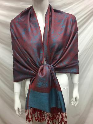 Two Tone Paisley Reversible Wear Pashmina Cashmere Scarf Shawl Wrap Red Blue