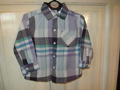 Boys Next Purple Checked Long Sleeve Shirt 12 - 18 Months. Excellent Condition.