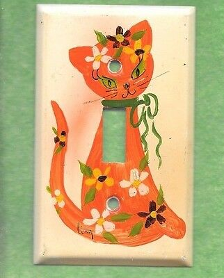 Adorable Vintage Hand Painted Hippy Kitty Single Light Switch