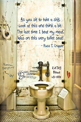 "Flushable Toilet Quote Poster -As you sit to take a shit, Look at this 16"" x 24"""