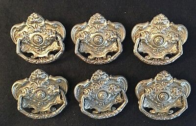 Lot/6 Antique Drawer Pulls Shield w/Bail 1900's