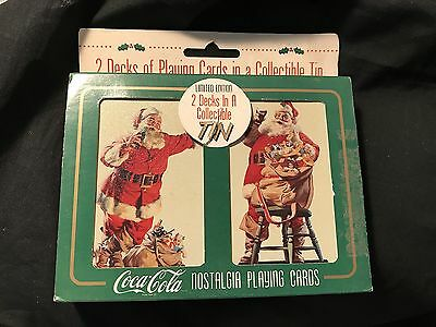 COCA COLA 1995 2 Decks Nostalgia Playing Cards In Collectible Tin