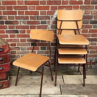 Industrial Vintage French School Stacking Restaurant Cafe Chairs