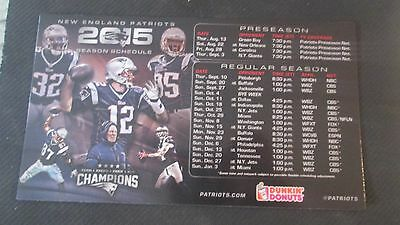 New England Patriots 2015 Season Schedule-Dunkin Donuts Magnet- 4 Titles Champs