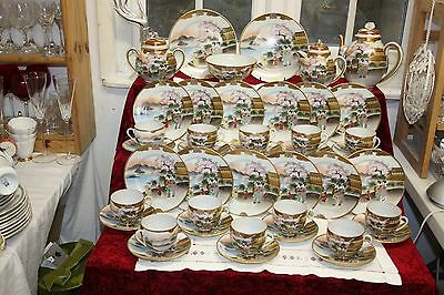 Beautiful Japanese Eggshell China Tea Set Hand Painted 42 Pieces