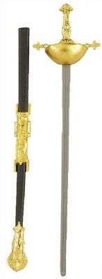 """Musketeer 30"""" Rapier Long Plastic Sword Gold Accents Toy Weapon Prop Accessory"""