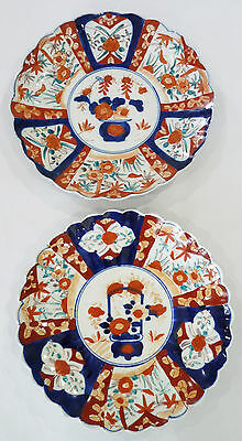 TWO ANTIQUE SCALLOPED LARGE JAPANESE IMARI CHARGERS /  Large Plates