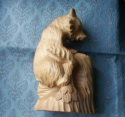 Old Vintage Carved Wooden Russian Forest Bear Figure Spill Holder Russia Wood