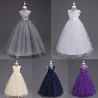 Girls Kids Lace Flower Bridesmaid Party Princess Prom Wedding Christening Dress