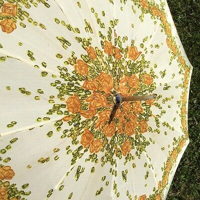 Ladies Vintage / Retro Floral Umbrella in Green & Gold with Leather Handle