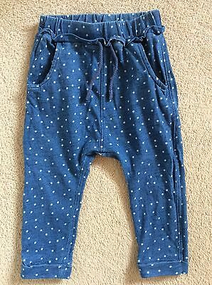 Next Baby Girls Blue Spotted Harem Pants Joggers 12-18 Months