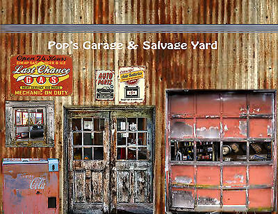 Diorama Vintage Garage set  #1 & #2 Peel and Stick Decal sheets 1:18 scale