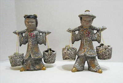 ASIAN BOY & GIRL CARRYING WATER BUCKETS 1950's CERAMIC FIGURE PAIR MADE IN JAPAN