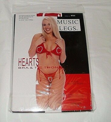 Music Legs Printed Hearts Halter Bra & Matching Tie String Thong New Sealed