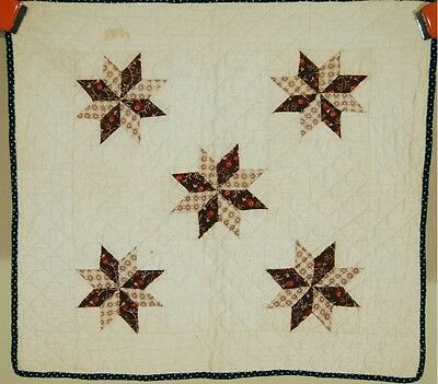 ELEGANT Vintage 1880's Stars Antique Doll Quilt ~NICE EARLY BROWNS & INDIGO!