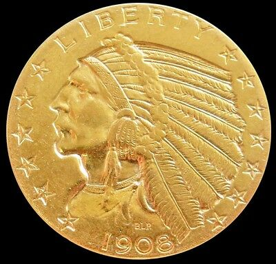 1908 Gold Us $5 Indian Head Half Eagle Coin Condition About Uncirculated+