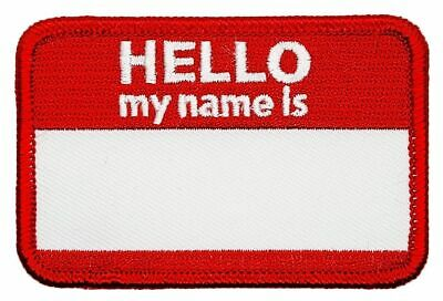 Hello My Name is Blank Name Tag Embroidered 3.0 X 2.0 Iron on Sew on Patch