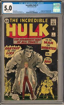 Incredible Hulk #1 CGC 5.0 (W) Origin & 1st appearance of the Hulk Avengers