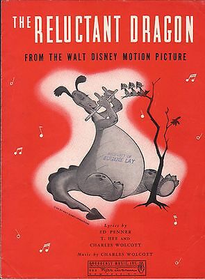 The Reluctant Dragon 1941 WALT DISNEY MOVIE Charles Wolcott Sheet Music!