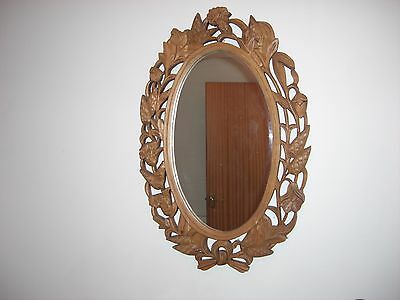 Antique Decorative Carved Wooden Wall Mirror