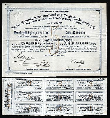1889 Amsterdam, Netherlands: Netherlands Transvaal Gold Mining Co (South Africa)