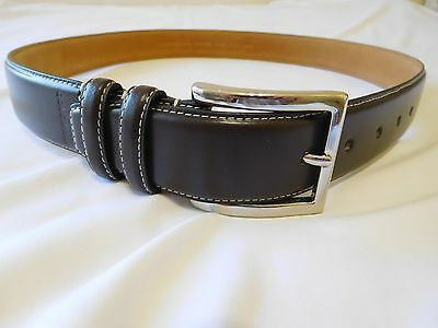Cole Haan Mens Black Belt 42 Leather Feather Edge Smooth Panel New Stich