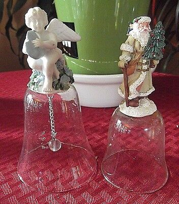 Lot of 2 Vtg Christmas Crystal Bells Santa With a Tree & Cherub With a Heart 5""