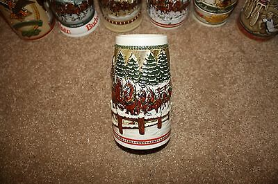 1984 Budweiser Holiday Beer Stein Mug Clydesdales Team and Wagon Covered Bridge