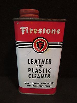 VTG. Firestone Can~Leather & Plastic Cleaner~gas~oil~tires~sign~automotive