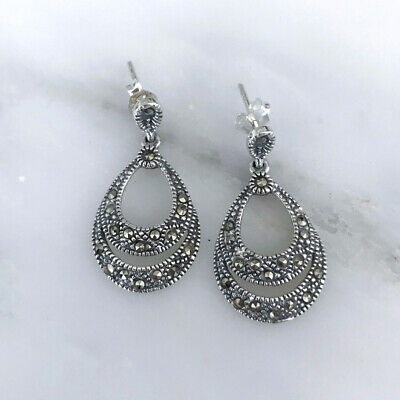 Sterling Silver 925 Marcasite Vintage Style Double Teardrop Earrings RRP $105
