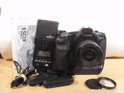 Clean Canon EOS1 35mm Film SLR Camera w/ E1 power grip & EF 35-80mm lens bundle
